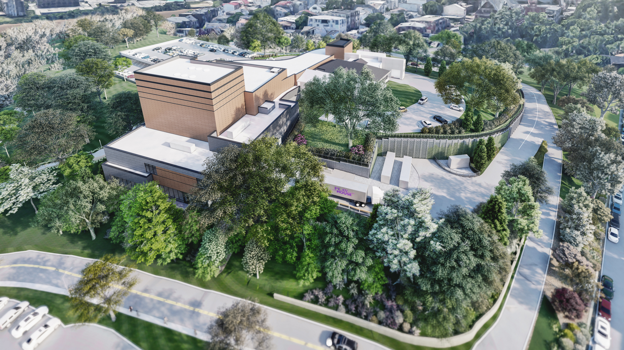 A back aerial view of the new facility.