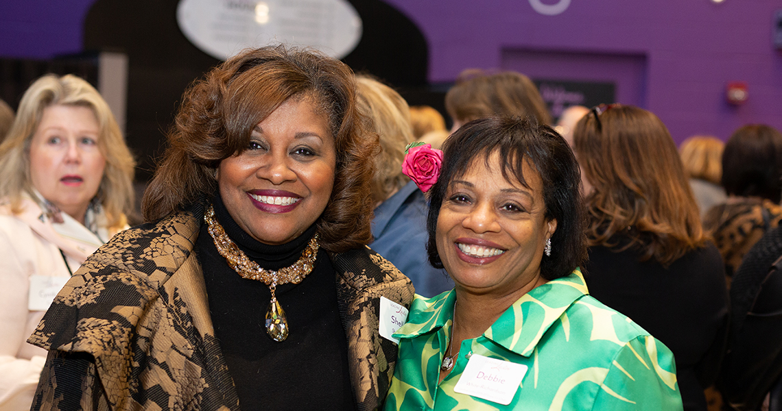 Leading Ladies Shelly Sherman and Debbie White Richardson at a 2019-20 Leading Ladies event.