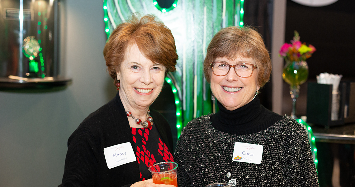 Leading Lady Nancy Lippincott with guest Carol DeGreg at a 2019-20 Leading Ladies event.